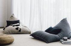 Dark, earthy shades dominate I Love Linen's winter collection - The Interiors Addict Earthy Home Decor, Natural Home Decor, Big Pillows, Floor Pillows, Cushions, Modern Bean Bag Chairs, Bean Bag Design, Home Furniture, Furniture Design