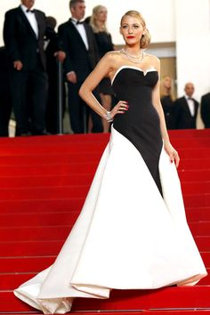 She+takes+the+Cannes+red+carpet+in+a+tuxedo-style+Gucci+Première+gown.   - ELLE.com