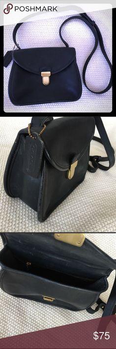 "Coach Black Leather Crossbody Coach Black Leather Crossbody. Black leather, front flap, gold Hardware. 8""w, 7""h, 3""d Coach Bags Crossbody Bags"