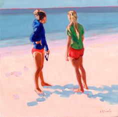Elizabeth Lennie / Cherry Beach / Affordable Artwork / Canadian Art / Gallery / Framing / Canvas / Art Interiors - Toronto, ON Painting People, Figure Painting, Traditional Paintings, Traditional Art, Gouache Painting, Watercolor Paintings, Framing Canvas Art, But Is It Art, Summer Painting