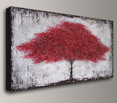 Abstract Painting acrylic painting red brown beige tree oil