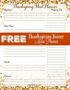 Keep Thanksgiving organized and on budget this year with this FREE Thanksgiving Dinner Menu Planner!