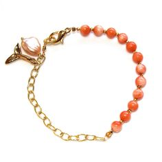 Angelskin Coral Charm Bracelet Gold Chain Whale Tail by FizzCandy, $68.00