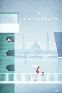 Vintage Copenhagen Travel Poster by Henry Rivers