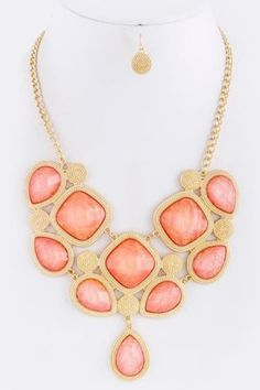 Nacre Coral Textured Gold Metal Iridescent Opalescent Necklace Earring Boutique | eBay