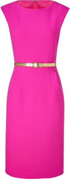 Michael Kors Neon pink belted sheath dress thestylecure.com