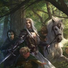 """Glorfindel turned and listened, then he sprang forward with a loud cry. ""Fly!"" he called. ""Fly! The enemy is upon us!"" (Art by Alberto Dal Lago)"