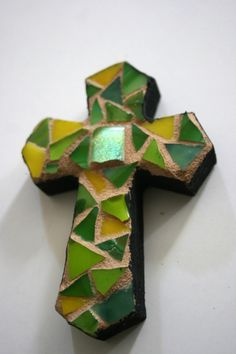 Stained Glass Mosaic Cross - Green and Yellow - 4 inches