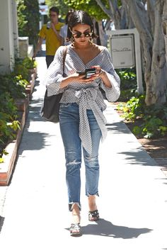 Vanessa Hudgens wearing Jonak Perla Mules, Longchamp Le Pliage Bag, Sunday Somewhere Pixie Sunglasses and Citizens of Humanity Liya Jeans in Trouble Maker