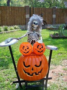 skeleton drummer - very unique and fun having the pumpkins as drums. lol