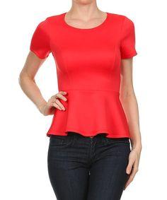 Look at this #zulilyfind! Coral Peplum Top by One Fashion #zulilyfinds