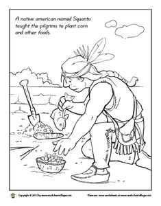 Squanto only spent a year with the pilgrims until his for Squanto coloring pages