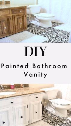 Painting Bathroom Cabinets, White Bathroom Cabinets, White Vanity Bathroom, Master Bathroom, Bathroom Vanity Makeover, Budget Bathroom Makeovers, Vanity Redo, Vanity Ideas, New Bathroom Designs