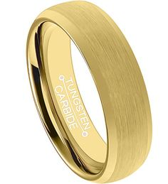 6mm Tungsten Comfort Fit 24k Yellow Gold Over Tungsten Beveled Edge Brushed Polished