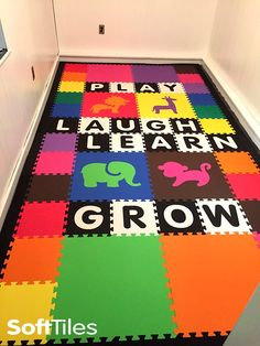 Create a special playroom for your child! This is a custom personalized children's playroom using SoftTiles Interlocking Foam Mats. This mat uses SoftTiles Safari Animals and individual custom alphabet letters. This cushioned children's play mat is sure to brighten any room!
