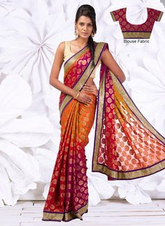 Gorgeous Multicolored Georgette Jacquard #Saree