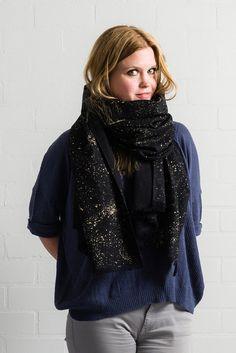 Gold splatter scarf, metallic golden sparkling splatters on black hemp + organic cotton, festive glitter galaxy, eco friendly, non toxic ink