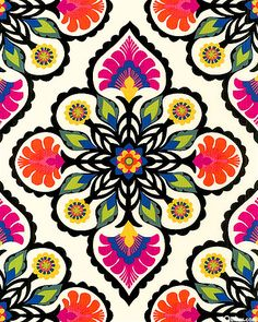 Sunny Gold, Cobalt Blue, Tangerine, Chartreuse, Dusky Jade, Hot Pink, Fuchsia, Black, Cream Colorful medallions feature stylized flowers in a kaleidoscopic arrangement that will capture your attention. - symmetry and multiply the patterns and repeating them