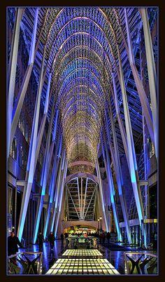 Toronyo, Ontario. Allen Lambert Galleria ~ six-story  thoroughfare, measuring 85 feet high, 45 feet wide and 360 feet long (24x14x110 meter) Designer/Architect:  Santiago Calatrava of Spain.       Constructed: 1990-92