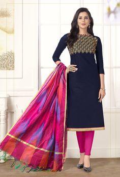 Salwar Kameez, Churidar Suits, Latest Salwar Suit Designs, Salwar Designs, Cotton Suit, Cotton Fabric, Beautiful Suit, Cotton Dresses, Eid Dresses