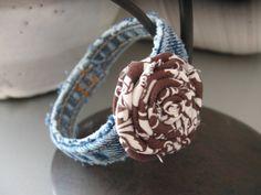 Upcycled Jean Bangle Bracelet . Brown Fabric Flower . etsy.com
