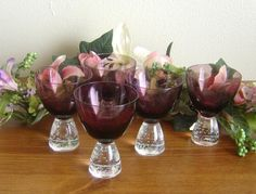 5 Hazel-Atlas? amethyst glass cups with heavy glass feet w/ bubbles