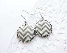 Dark gray chevron earrings by CitrusCat on Etsy