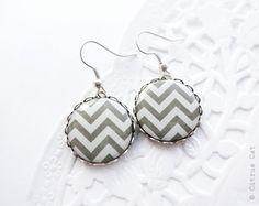 Dark gray chevron earrings by CitrusCat on Etsy