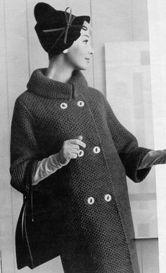 Women's Vintage Knitted Coat with Foldover Collar -- PATTERN