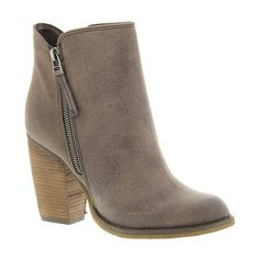 Sbicca Percussion ($68) ❤ liked on Polyvore featuring shoes, boots, ankle booties, ankle boots, taupe, taupe boots, vegan boots, high heel bootie, taupe booties and stacked heel booties