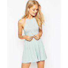 ASOS 90's Halter Romper ($36) ❤ liked on Polyvore featuring jumpsuits, rompers, mint, halter top, open back halter top, playsuit romper, white halter romper and halter rompers