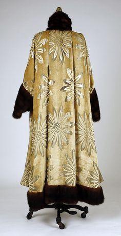 Coat, Evening. Callot Soeurs (French, active 1895–1937). Date: 1916–17. Culture: French. Medium: silk, metallic, fur. Dimensions: Length at CB: 49 in. (124.5 cm).