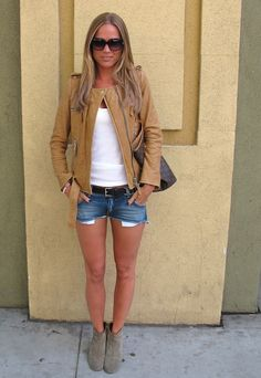 Marie Serneholt looking good in jacket from Isabel Marant, shorts from Pierre Balmain and boots from Isabel Marant