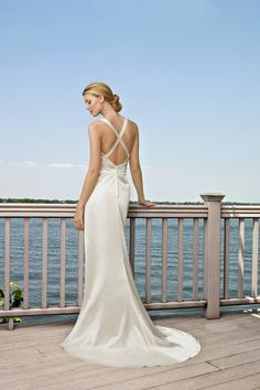 Long V neckline Sheath Style Wedding Dress  Delicate Beadings Wallpaper