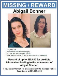 Missing Persons of America: Abigail Bonner: Missing Teen from Madison - Body found in Mississippi