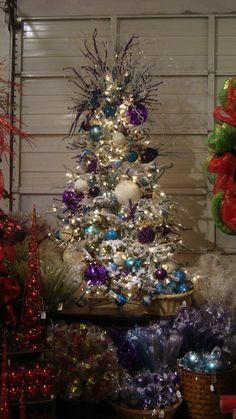 Turquoise/White/Purple Flock Tree