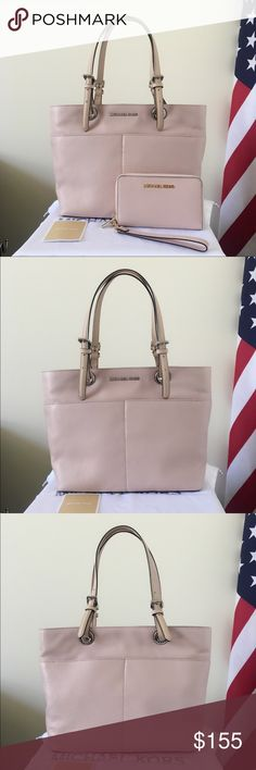 Michael Kors Bedford Tote With Large Wallet Beautiful set! Ballet pink goes well with everything. Lightly used. Authentic.  The Bedford Tote is in ballet pink with silver detailing. Really good condition. Used about once.  Wallet is also ballet pink but w