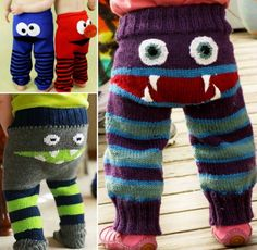 Baby Knitting Patterns Funny Knitted Monster Pants Free Pattern–I want to make a me-sized pair for roller de… Baby Knitting Patterns, Knitting For Kids, Knitting Projects, Crochet Projects, Free Knitting, Simple Knitting, Sock Knitting, Knitting Tutorials, Kid Outfits