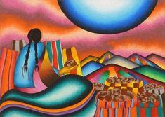 Tesoro de las Montañas. Mamani Mamani Mexican Paintings, Great Paintings, Latino Art, Southwest Art, Mountain Paintings, Naive Art, Mexican Art, Tole Painting, Pictures To Draw