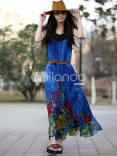 Bohemian Royal Blue Sleeveless Belted Chiffon Womens Dress. The belt of this item will be sent at random.. See More Maxi Dress at http://www.ourgreatshop.com/Maxi-Dress-C85.aspx
