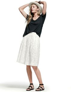 J.Crew prima jersey pocket tee and patio in burnout linen skirt. #modestfashion
