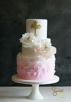 gorgeous #ombre #pink & #gold #first #communion #cake