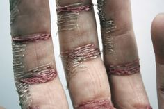 Elizabeth Bennett - A series of photographic works titled 'A Woman's Work is Never Done' Using my own hand as a base material, I considered it a canvas upon which I stitched into the top layer of skin using thread to create the appearance of an incredibly work worn hand.