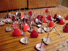 RESERVE LISTING 100 Red Heart Push Pin Tacks by thevintagethread