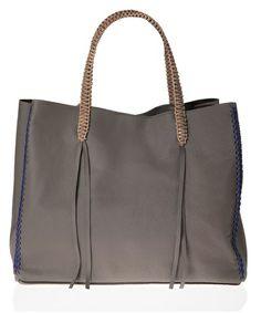 Callista Taupe Lattice Tote Bag ,available on aesthet.com