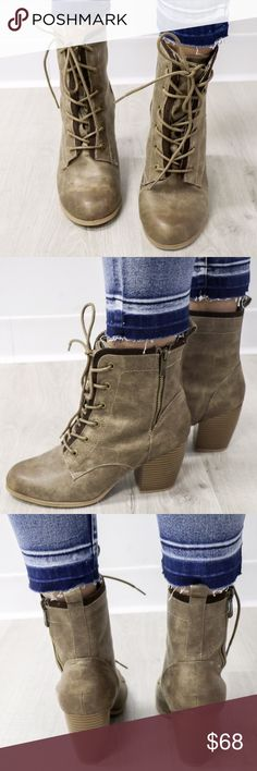 Taupe Lace Up Combat Boots Casual taupe block heel anke boots Heel 3in Taupe, lace up boots Zipper. Will come in a box but it may not be the original box. Boutique Shoes Combat & Moto Boots