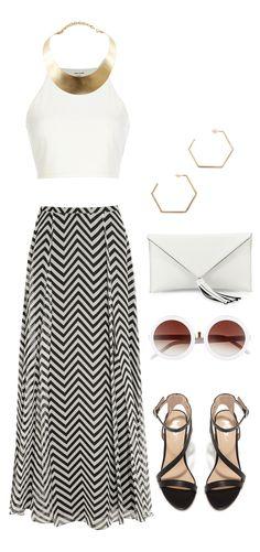 Shop Outfit // Tank Top // Chevron Skirt // Heels // Clutch // Sunglasses // Collar Necklace // Earrings