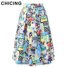 CHICING Abstract Graffiti Colorful Oil Painting Midi Skirts Womens 2016 Summer Cartoon Dots Print Empire Pleated Saia A1605027