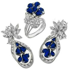 Estate 5.00ct Pear Shape Sapphire  2.00ct Round Cut Diamond 14k White Gold Drop Earrings & Cocktail Ring Set