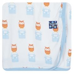 """Swaddle that little muffin up in one of our dreamy soft Swaddling Blankets.  Our fabric is like butter on baby's delicate skin and has the perfect amount of stretch to wrap your peanut up snuggly.  Pair with coordinating Gift Set or Footie for a gift that will highlight the shower!  Blanket measures 40"""" x 29""""  Made of 95% Viscose from Bamboo, 5% Spandex"""